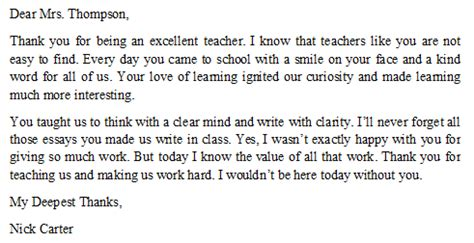 thank you letter to for s day essay on gratitude towards teachers docoments ojazlink