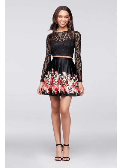 Lnice Flower Top Skirt sleeve lace crop top and satin skirt set david s bridal