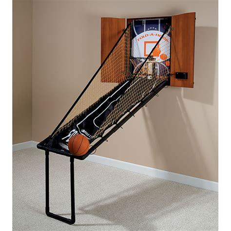 arcade hoops basketball cabinet the wall mounted fold out mahogany basketball game