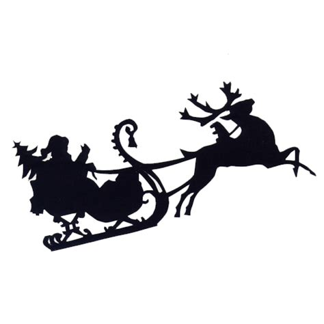 santa sleigh and reindeer silhouette free svg file santa and sleigh beaoriginal