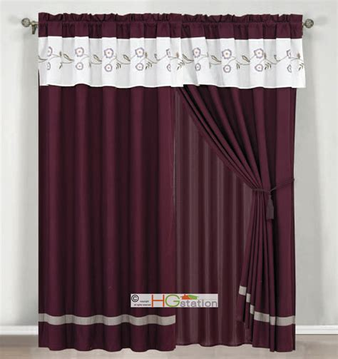 White And Silver Valance 4pc Floral Striped Embroidery Curtain Set Purple Gray