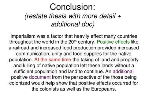 Thematic Essay On Imperialism Exles by Dbq Packet