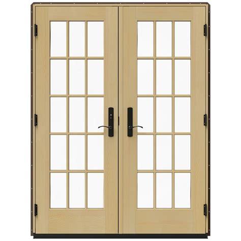 Patio Doors Wood Jeld Wen 60 In X 80 In W 4500 Brown Clad Wood Right 15 Lite Patio Door W
