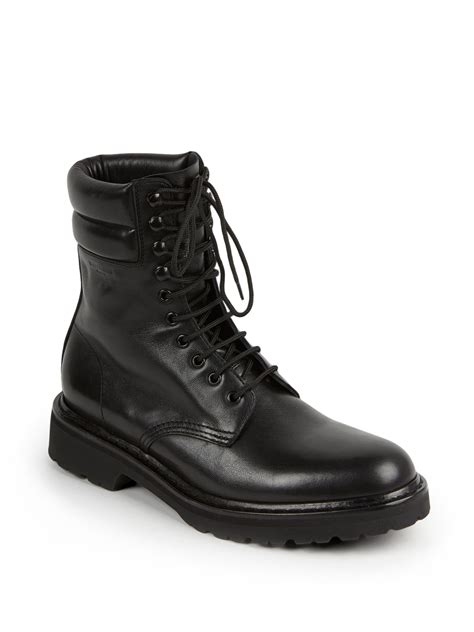 laurent mens boots laurent trekker 25 leather lace up boots in black