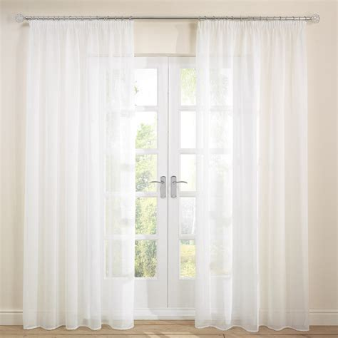 White Voile Curtains White 2 Quot Pencil Pleat Voile Curtains Single Julian Charles