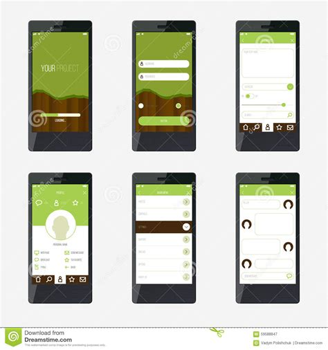 mobile app planning template template mobile application interface design stock vector