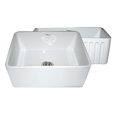 Whitehaus Sinks Kitchen Whitehaus Collection Reversible Farmhaus Apron Series Front Fireclay 24 In Single Bowl Kitchen