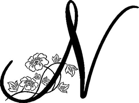 N Drawing Images by Floral Illustrated Letter N Decals And Stickers The