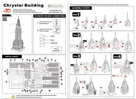 chrysler building floor plan fascinations metal earth 3d metal model diy kits