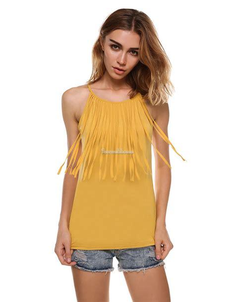 Blouse Import 25800 Tassel Blouse cotton spaghetti tassel fringe vest tank tops blouse shirts s