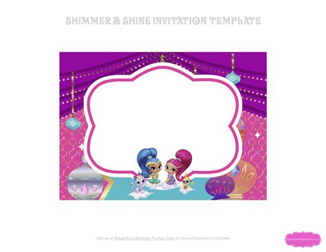 Shimmer And Shine Invitation Template Free Templates Collections Shimmer And Shine Invitations Templates