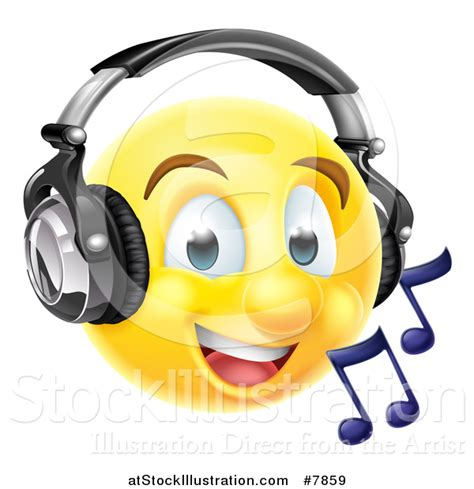 royalty free stock emoticon designs of headphones vector illustration of a 3d yellow male smiley emoji