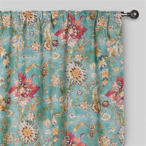 turquoise tab top curtains aqua genevieve cotton concealed tab top curtains set of 2