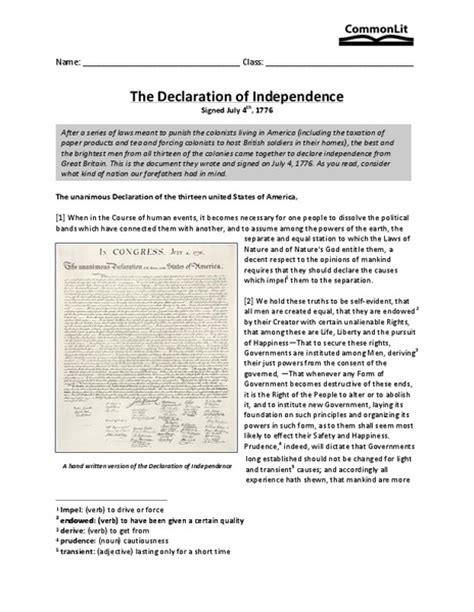 printable quiz on declaration of independence declaration of independence worksheet lesupercoin