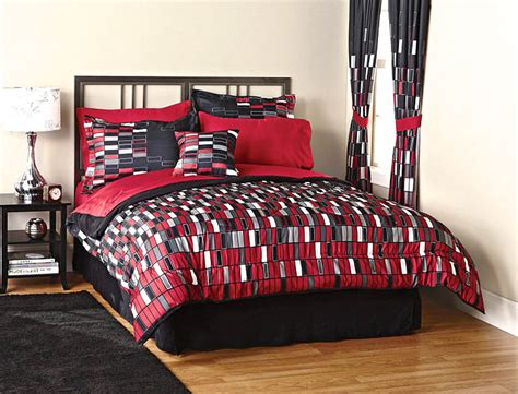 teen boy comforter set black red geometric rectantangular tile teen boys