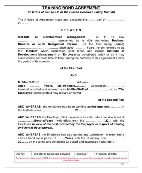Employment Bond Letter Sle Agreement Letter Exles