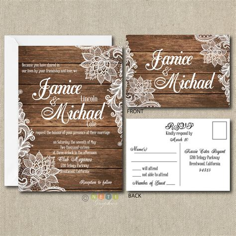 country wedding invitations 100 personalized country rustic lace wedding invitations post card rsvp ebay