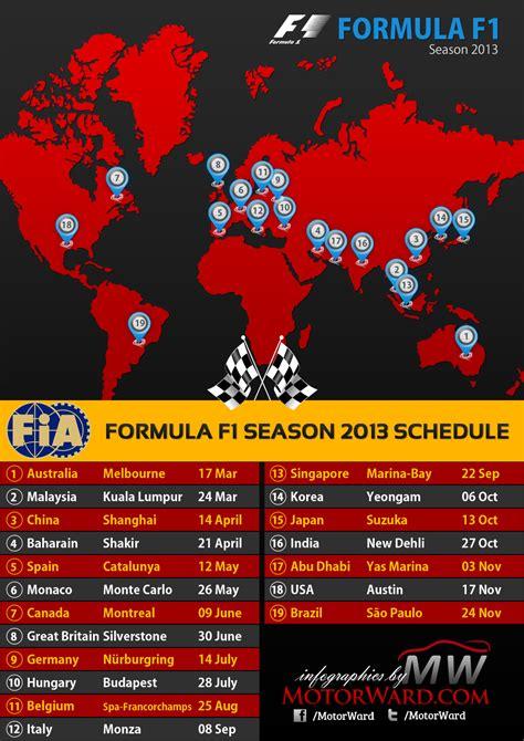 F1 Calendar 2013 2013 Formula 1 Season Calendar