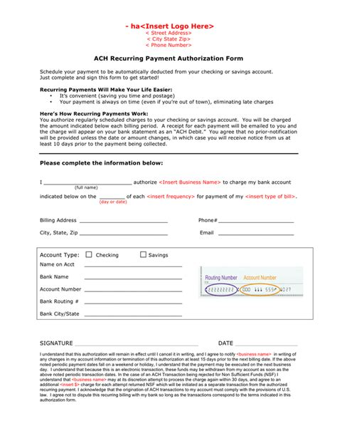 Ach Recurring Payment Authorization Form In Word And Pdf Formats Recurring Payment Authorization Form Template