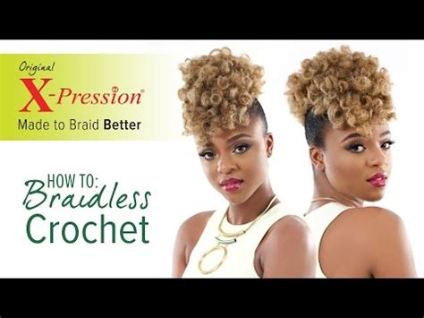 how to do a braidless braid with the topsy tail how to curl and braidless crochet braid x pression