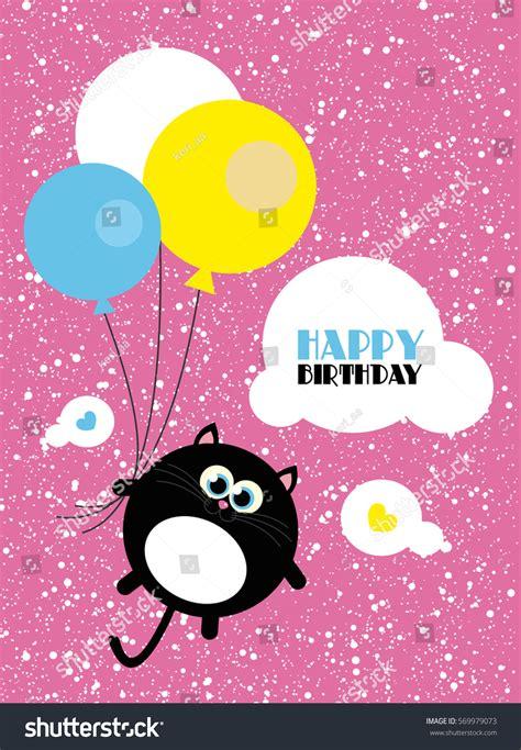 kawaii birthday card template creative cards templates happy birthday stock vector