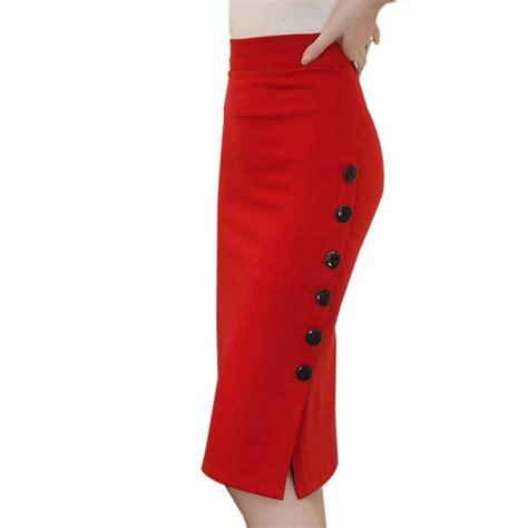 new skirts plain bodycon pencil high waisted