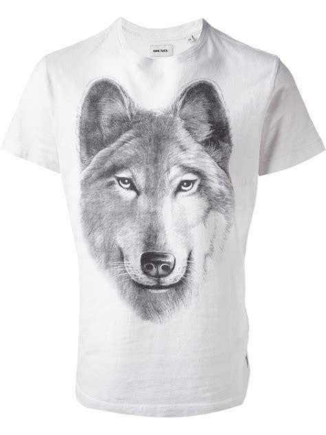 Tshirt Woles Grey lyst diesel wolf print t shirt in gray for