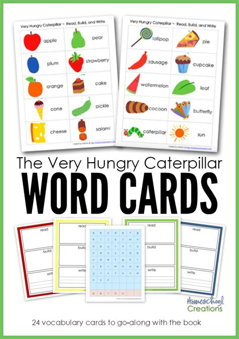 hungry caterpillar word cards  printable