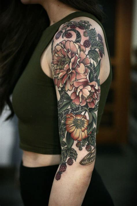 floral tattoo sleeve best 25 botanical ideas on fern