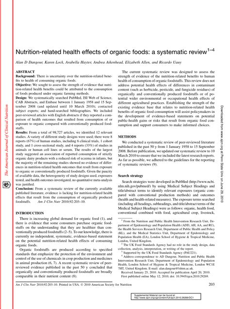 nutrition related health effects  organic foods  systematic review