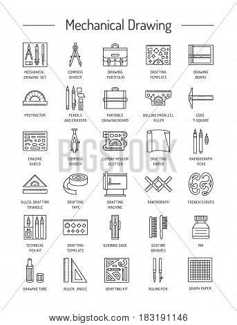 5 Drawing Instruments And Their Uses by Drafting Tools Icon Collection Vector Photo Bigstock