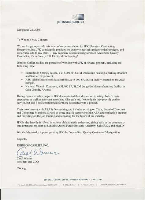 Recommendation Letter For Electrician Jfk Electrical Contracting Inc Testimonials And Ratings Proview