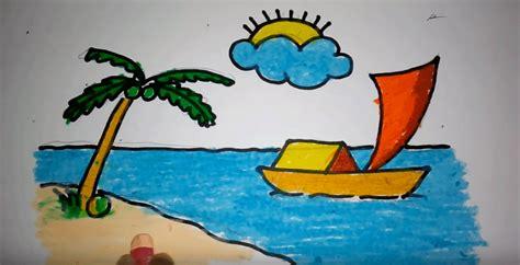 tutorial menggambar untuk pemula menggambar pemandangan pantai untuk pemula menggambar unik
