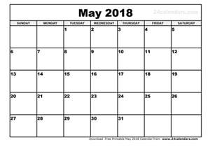 Calendar 2018 Printable Template May 2018 Calendar Printable