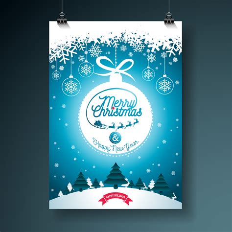 merry christmas illustration  typography  ornament decoration  winter landscape
