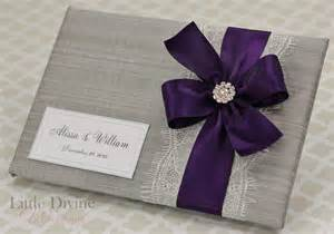 purple guest book silver wedding guest book purple plum and lace custom made in