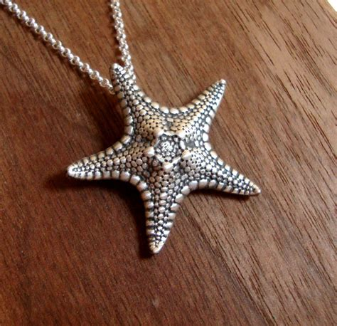 starfish necklace sterling silver oxidized starfish pendant