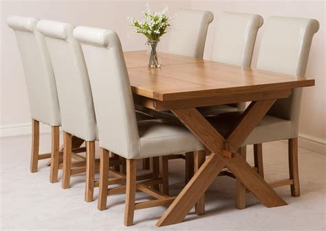 Crossed Leg Dining Table Vermont Dining Set With 6 Ivory Chairs Oak Furniture King