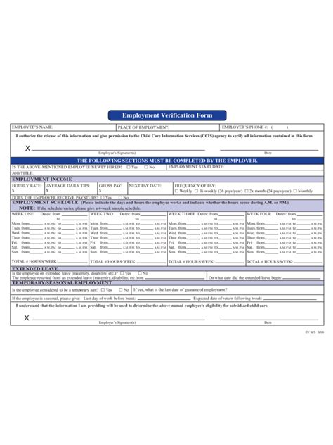 employment verification form employment verification form 4 free templates in pdf