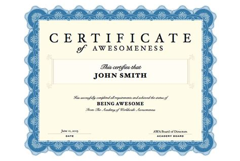 create a custom certificate of awesomeness for you fiverr