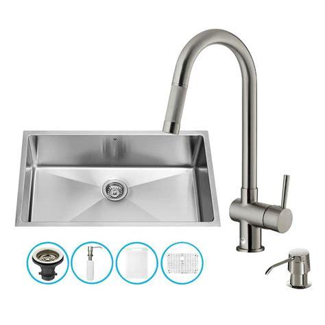 Stainless Steel Undermount Kitchen Sink Single Bowl Vigo Undermount Stainless Steel 30 In Single Bowl Kitchen Sink Vg3019c The Home Depot