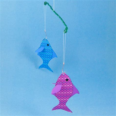 Origami Fishing Pole - how to make a floral wire mobile with origami birds