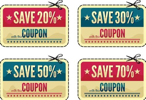 free vintage coupon discount labels vector titanui