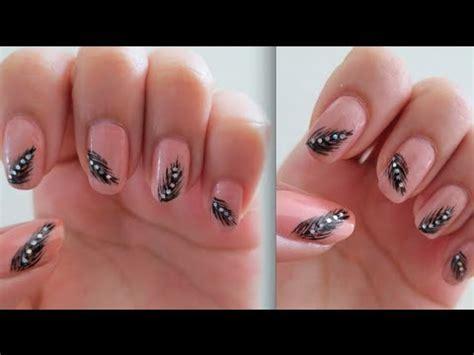 tutorial nail art elegant pretty elegant feather nail art tutorial youtube