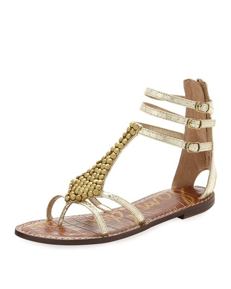 sam edelman gold sandals sam edelman gladiator sandal in gold lyst