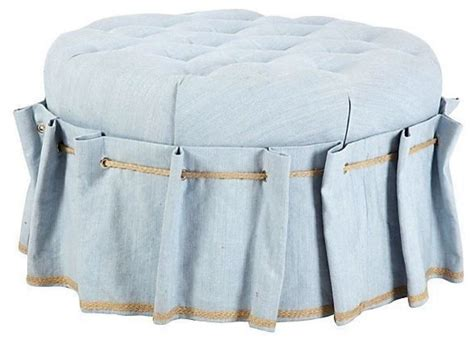 tufted ottoman with skirt blue tufted circle ottoman with grommet skirt
