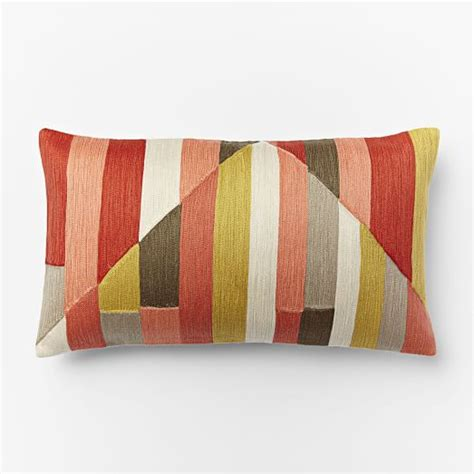 Crewel Pillow Covers by Crewel Stripes Pillow Cover Bright Coral West Elm