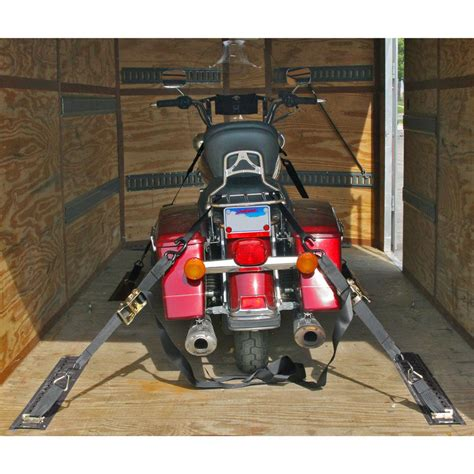 e track system motorcycle trailer e track tie system with rails