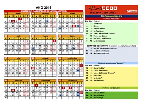 Calendario De Festivos Calendario Laboral 2016 Ccoo Catalu 241 A