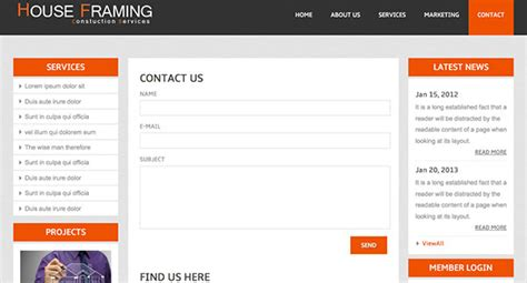 contact html template houseframing free responsive html5 template creative beacon